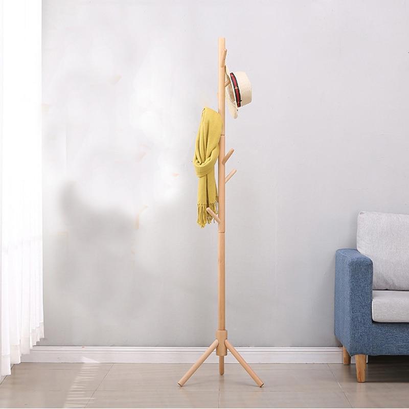 6 hooks Solid Wood Hanger Floor Standing Coat Rack Bedroom hangers Drying Rack Creative Home Furniture Clothes Hanging Storage