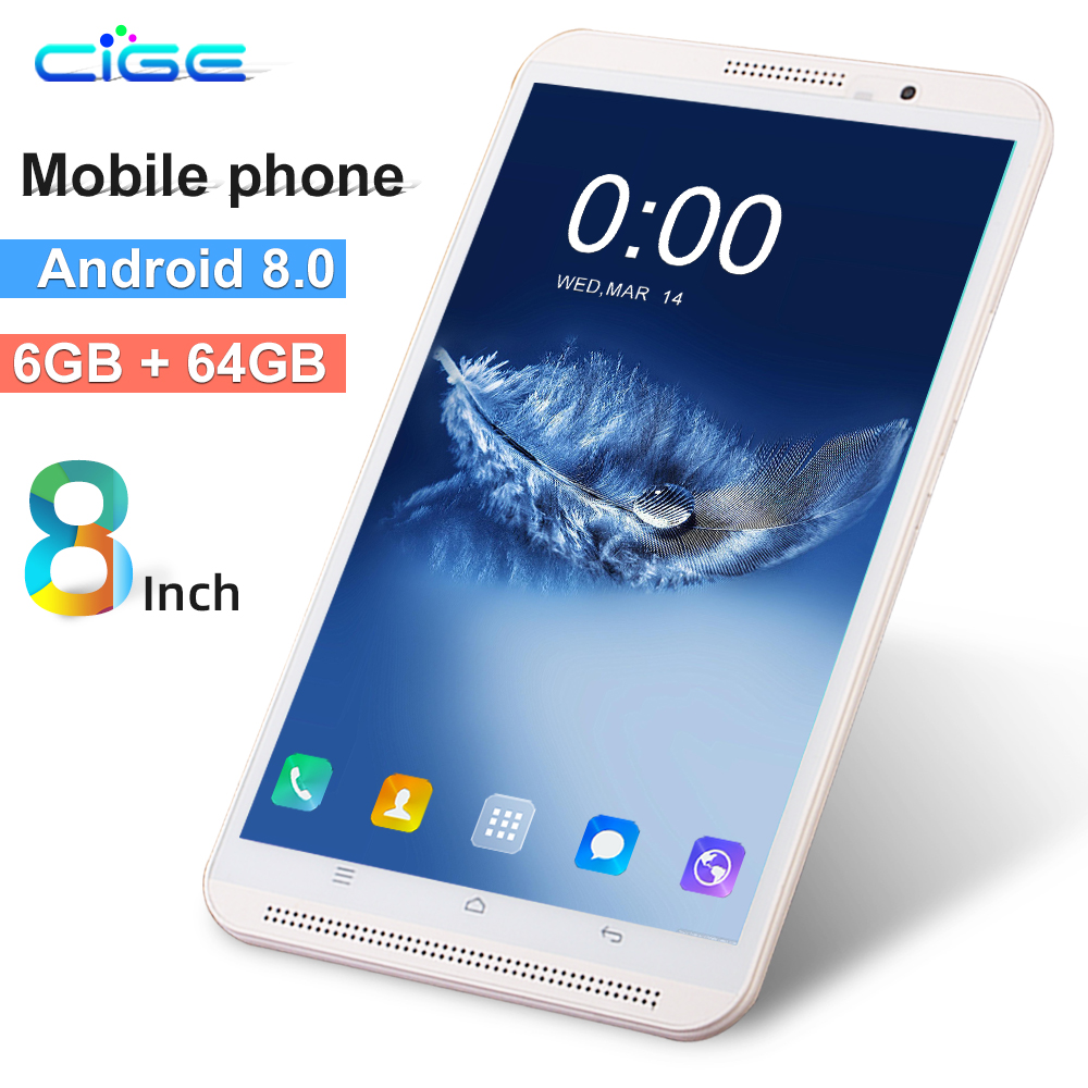 CiGe K8 8 Inch Tablet PC 3G 4G Lte Octa Core 6GB RAM 64GB ROM Dual SIM 8.0MP Android 8.0 GPS 1280x800 HD IPS Tablets 8