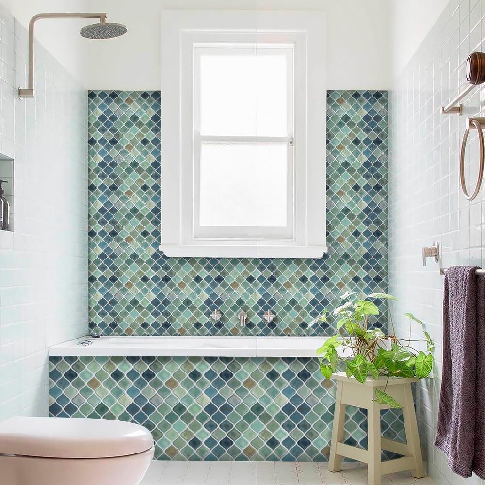 peel and stick wall tile for kitchen backsplash dark green decorative arabesque tile backsplash 11 x 10