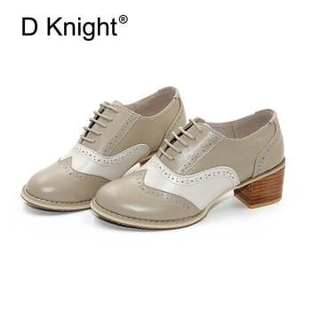 Retro Oxfords Women Pumps Shoes Top Brand Genuine Leather Wingtip Round Toe Lace-up Brogues Shoes Pumps Women Handmade Plus Size