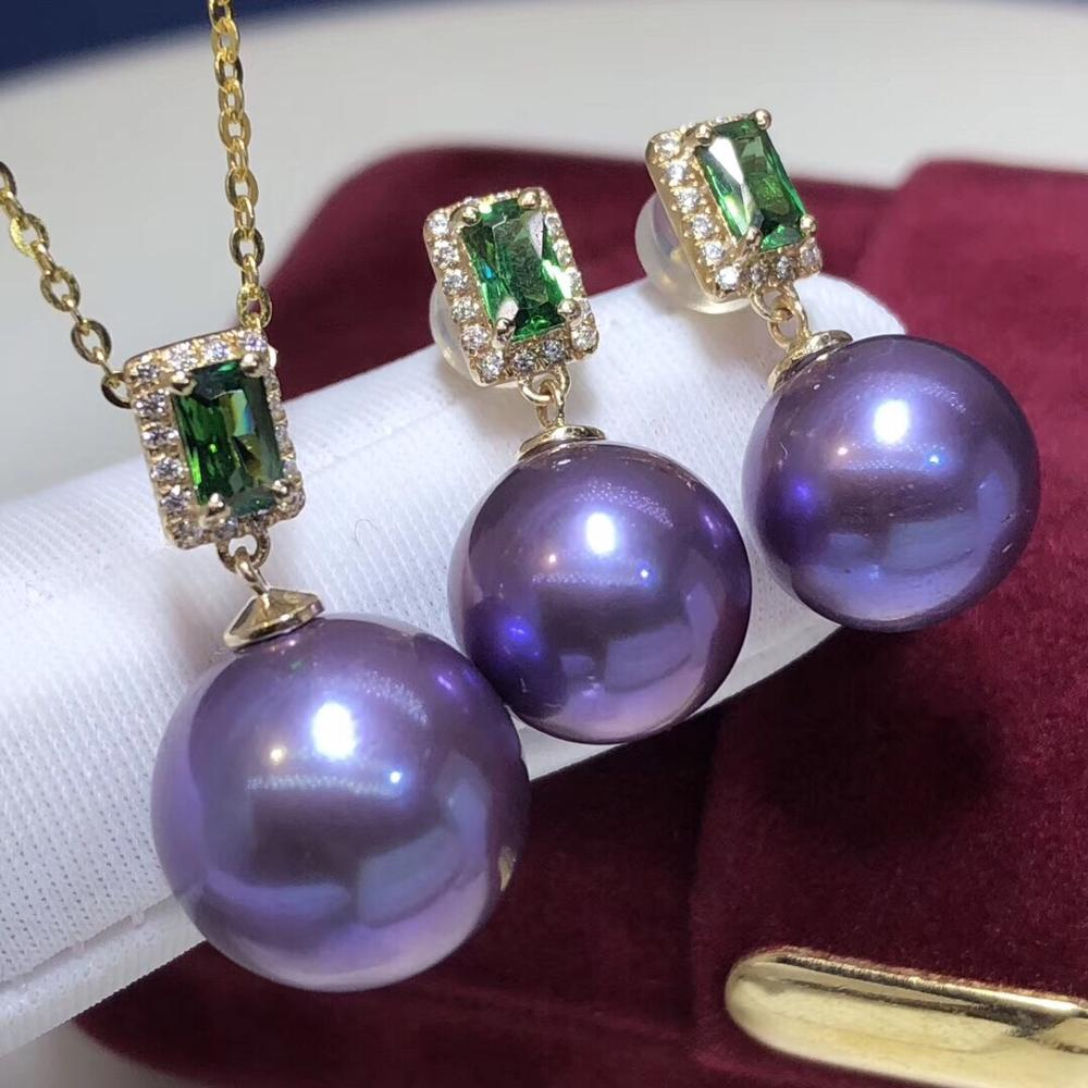 Pearls 1028 Fine Jewelry 14K Gold Natural Fresh Water Purple Pearl 10-13mm Female's Jewelry Sets for Women FIne Jewelry Sets