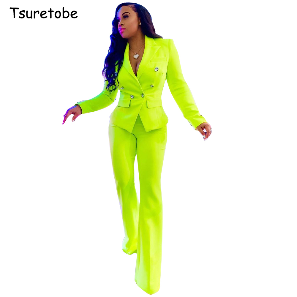 Tsuretobe Fluorescent Two Piece Set Women Double-Breasted Blazer And Straight Pants Office Suits Lady Long Sleeve Outfits Female