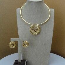 Yuminglai Italiaanse Gouden 24K Dubai Kostuum Sieraden Sets Ketting en Oorbellen FHK6842
