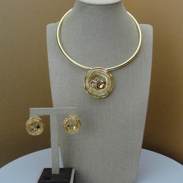 Yuminglai  Italian Gold 24K Dubai Costume Jewelry Sets Necklace and Earrings FHK6842
