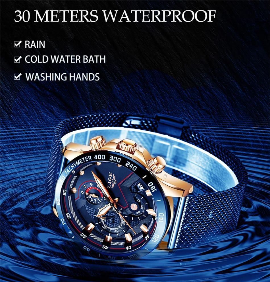 H05da888e233b4a93b77ef2067efd3056X 2019 New LIGE Blue Casual Mesh Belt Fashion Quartz Gold Watch Mens Watches Top Brand Luxury Waterproof Clock Relogio Masculino