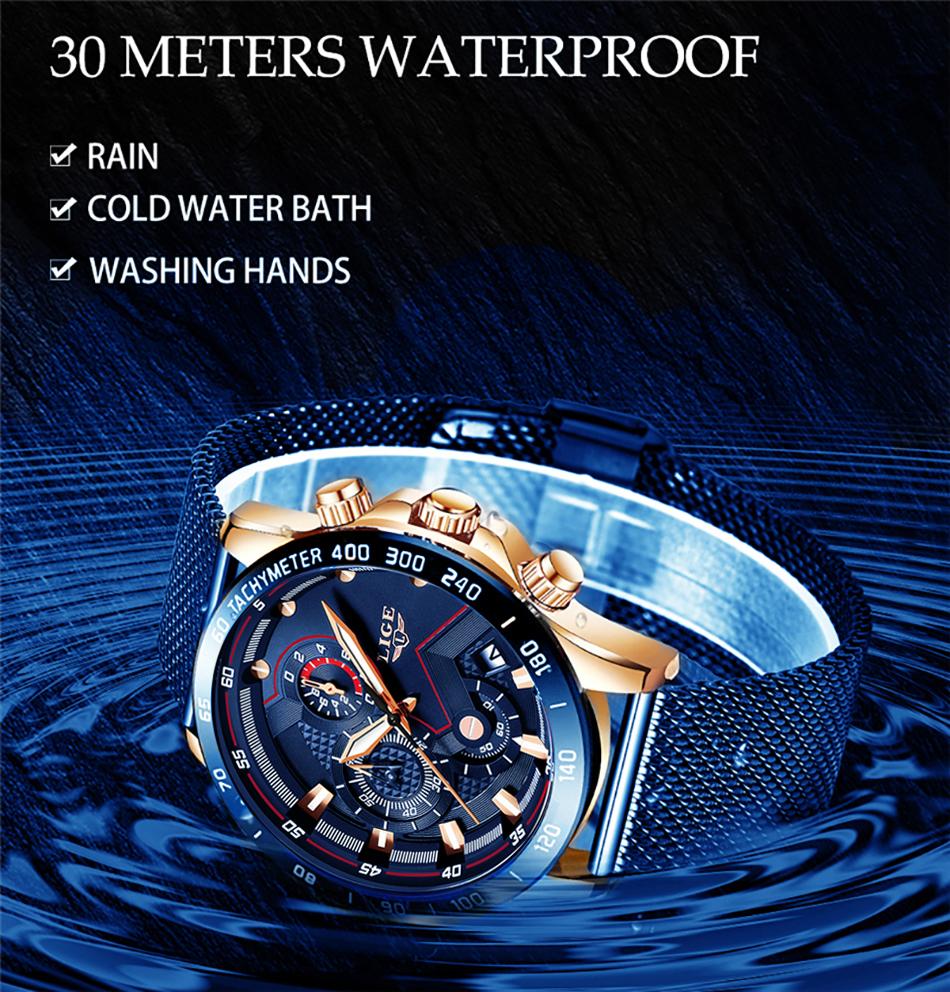 LIGE azul Casual malla Correa moda cuarzo oro reloj para hombre relojes marca superior reloj impermeable de lujo 7