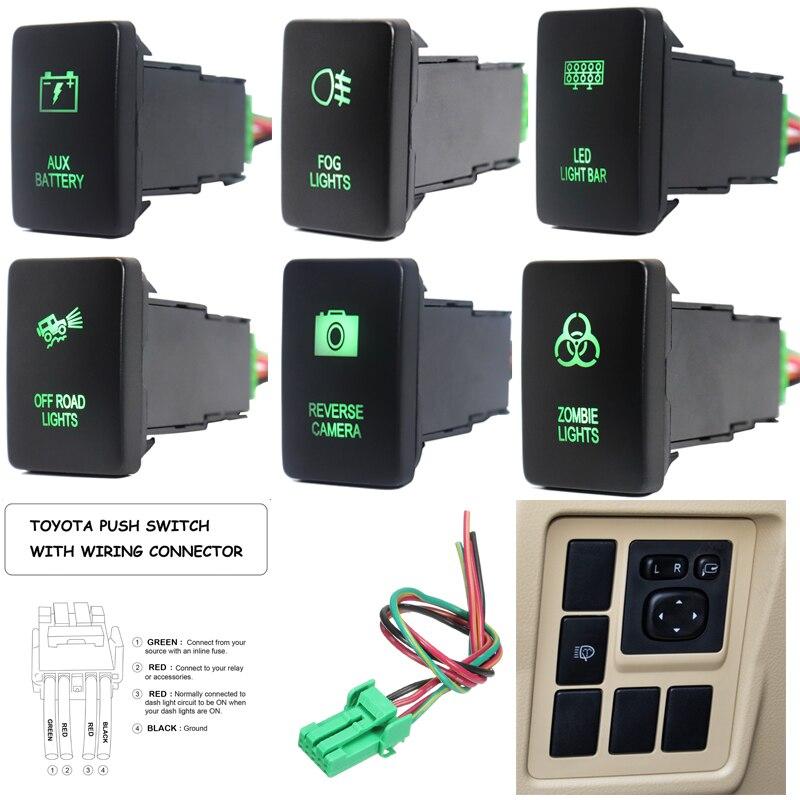 12 В Aux аккумулятор/светодиодный светильник бар/обратная камера кнопка переключения зеленый светильник s для Toyota Hilux Prado high landlander Landcruiser RAV4