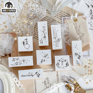 Mr.paper Rubber-Seals Wooden-Stamps Finger-Pen Decoration Scrapbooking Letters DIY White