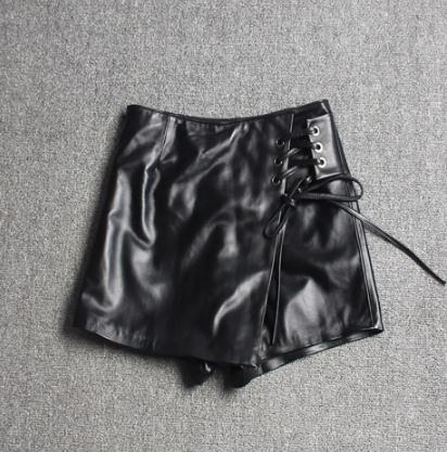 Free Shipping,Brand Women Genuine Leather Shorts.fashion Soft Sheepskin Slim Short Pants,female Lady Sexy Shorts Skirts.black