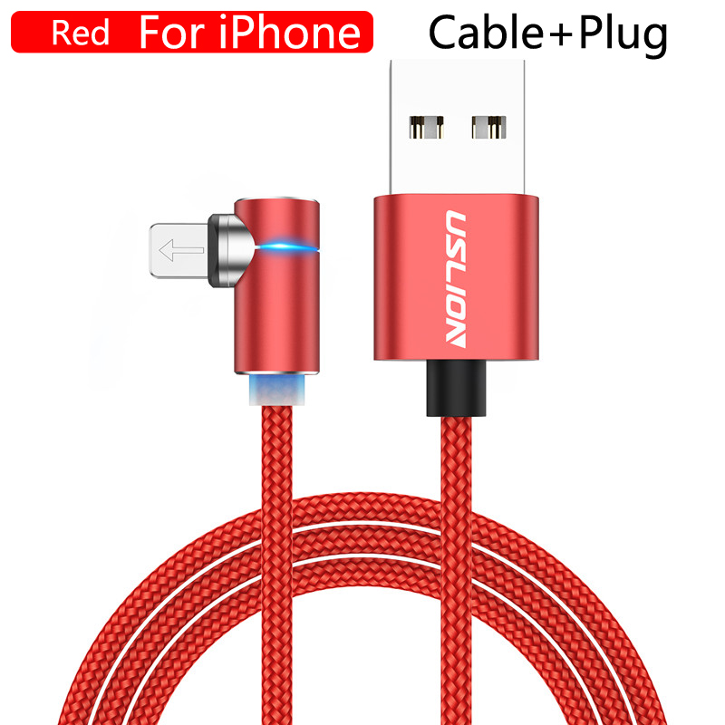 USLION 2m 3A Магнитный usb-кабель для быстрой зарядки для iPhone 11 Pro Android шнур для телефона type C кабель магнитное зарядное устройство Micro USB кабель - Цвет: For iPhone Red