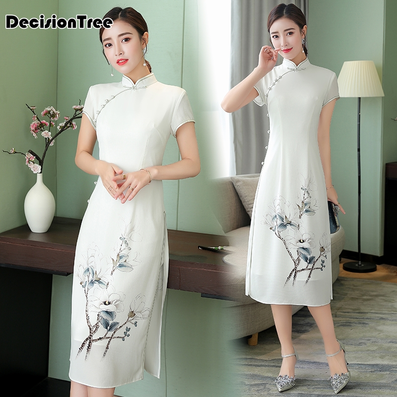 2019 Cheongsam Ao Dai Dress Vietnam Clothing Womenmandarin Collar Vintage Lady Floral Vietnam Ao Dai Qipao Vintage Casual Retro