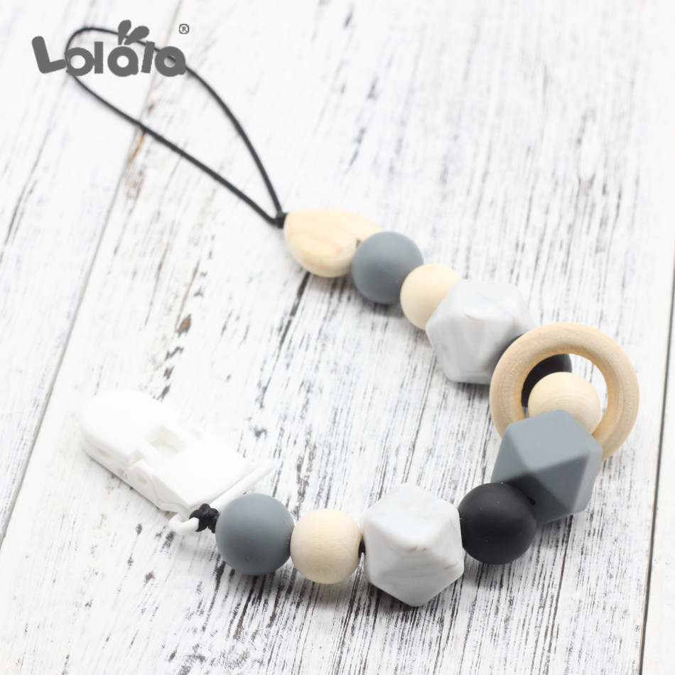 Silicone And Wood Pacifier Clips Wooden Bead Dummy Clip Holder Cute Soother Chain Baby Teething Toy For Baby Chew Attache Tetine
