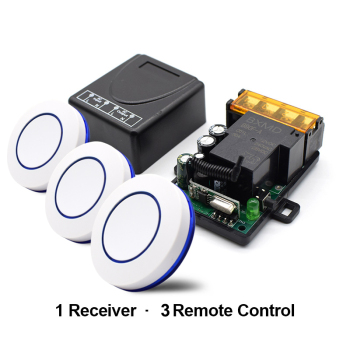 цена на 433Mhz Wireless RF Remote Control Switch AC 220V 1CH 30A Relay Receiver and 3pcs 1 button round remote control switch EV1527