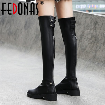FEDONAS Black Genuine Leather Women Silm Over The Knee High Boots Winter Riding Boots Zipper Stretch Boots Party Shoes Woman