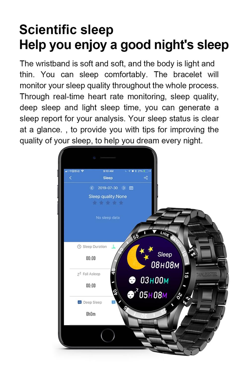 H05db62bce3f8453b9fe115f774bdbb597 LIGE New Men Smart watch Heart rate Blood pressure IP68 waterproof sports Fitness watch Luxury Smart watch male for iOS Android