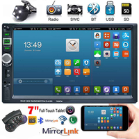 7 inch HD Double Din Touch Screen Vehicle Car Blluetooth MP5 with Camera FM Transmitter USB TF Card
