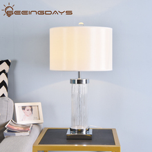 Clear Watermark Glass Crystal Cylinder Table Lamp White Black Lampshade LED Desk Lamp Bedside Lamp 220v
