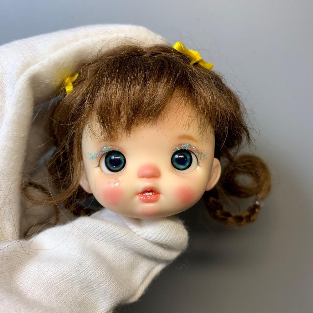 obitsu OB11 doll head with makeup with eyes <font><b>1/8</b></font> <font><b>BJD</b></font> doll head Head can be opened k003 image