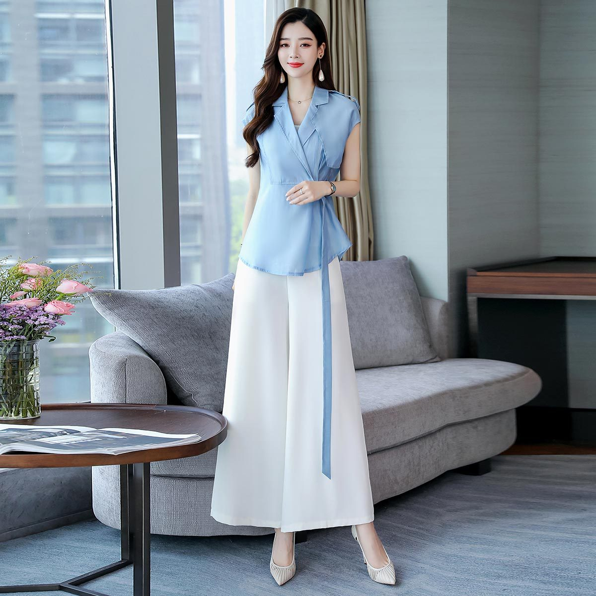 Fashion Chiffon WOMEN'S Suit 2019 Summer Royal Sister Suit Collar Loose Pants Camisole Popular Three-piece Set Slimming Graceful