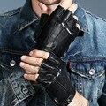 Мужские и женские перчатки из натуральной кожи, перчатки без пальцев для влюбленных, черные тактические мужские кожаные перчатки для вожде...