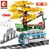SEMBO City Train Rail stacja metra Creator klocki high-tech tory samochodowe kolejowe Zoo drzewo cegły DIY zabawki dla dzieci
