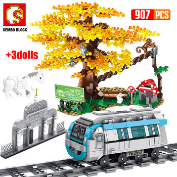 SEMBO City Train Rail stacja metra Creator klocki Technic tory samochodowe kolejowe Zoo drzewo cegły DIY zabawki dla dzieci
