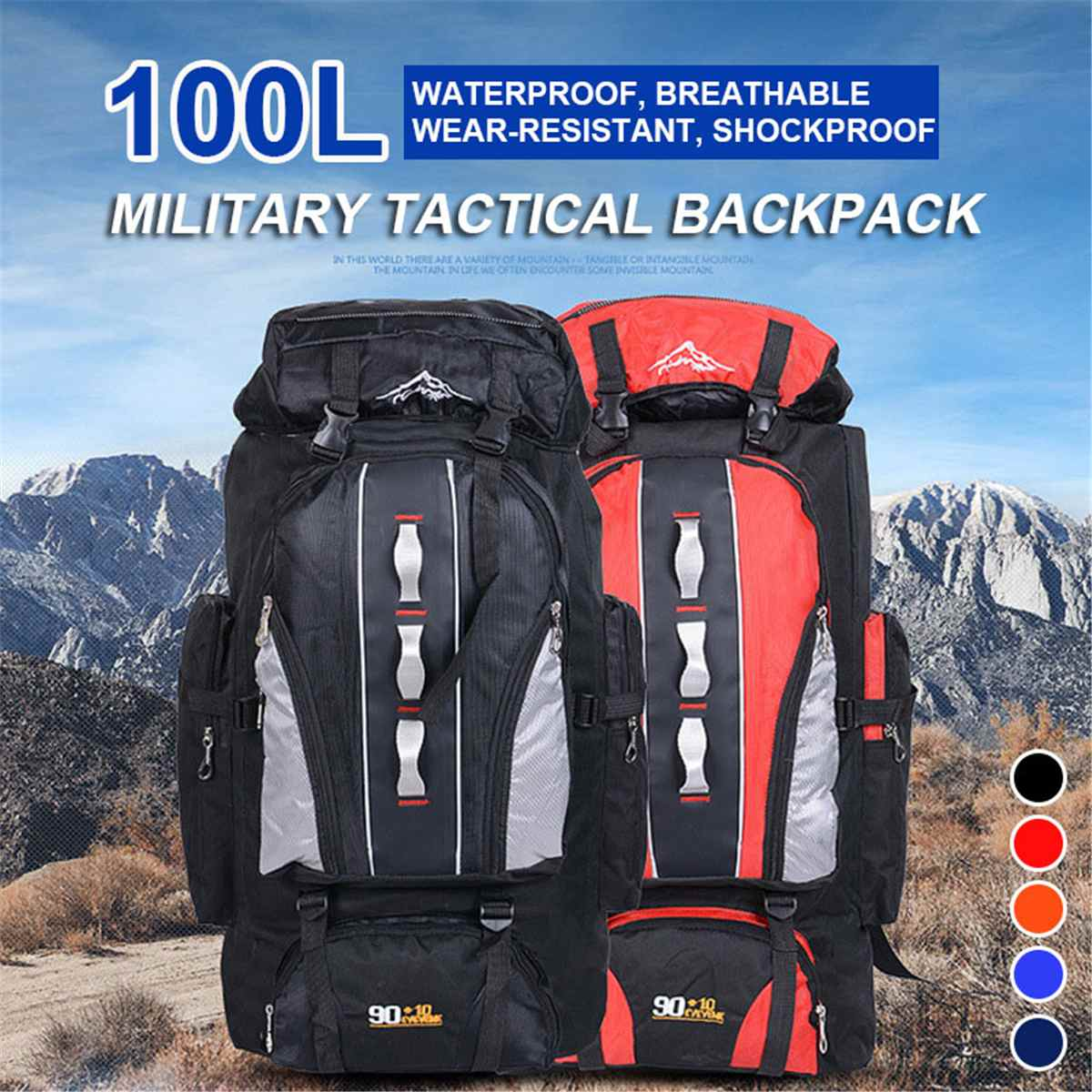 100L Large Capacity Outdoor Sports Backpack Men and Women Travel Bag Hiking Camping Climbing Fishing Bags waterproof Backpacks