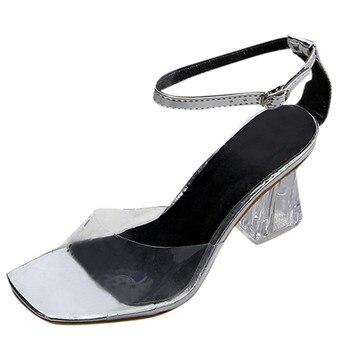 Γυναικεία διάφανα πέδιλα με τακούνι