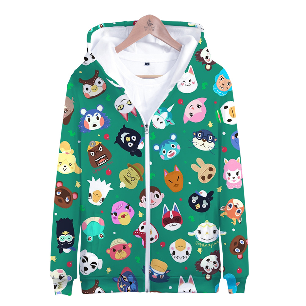 New 2020 Game Animal Crossing New Horizons 3D print Zipper Hooded Sweatshirt Zip-Up Hoodies Cute Harajuku Women/Men/Kid Clothes image