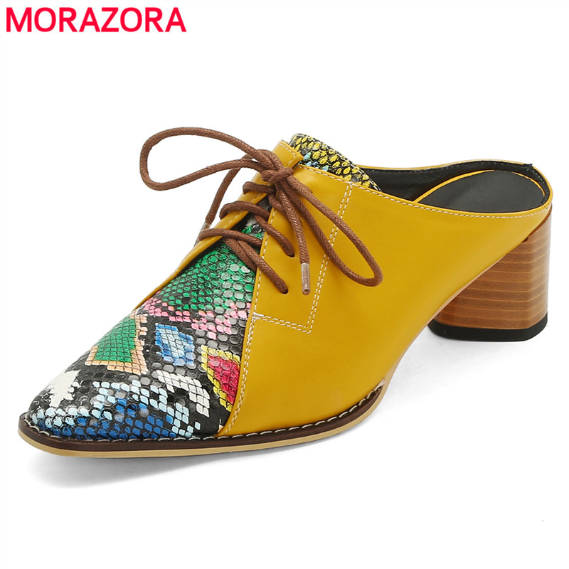 MORAZORA Size 34-42 Lace Up Ladies Shoes Summer Slingback Mules Woman High Heels Shoes Snake Printed Women Sandals