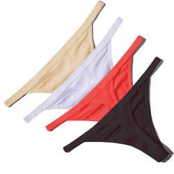 Лидер продаж пикантные Для женщин хлопок G строка стринги с низкой талией сексуальные трусики женские бесшовное белье Черный, красный