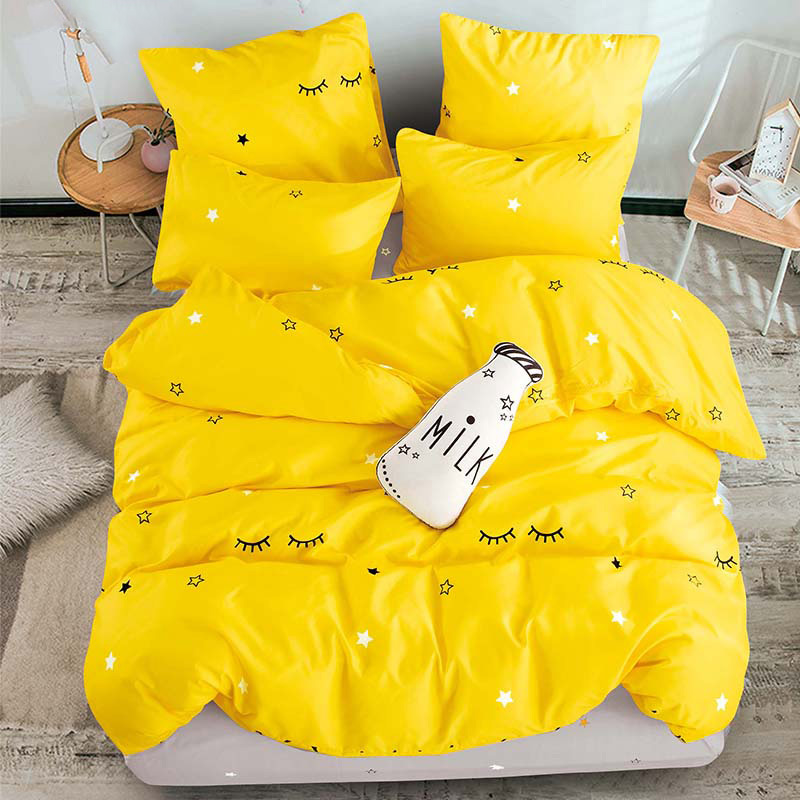 ALANNA bedding set Pure cotton Pure color A/B double-sided pattern Cartoon Simplicity Bed sheet quilt cover pillowcase 4-7pcs