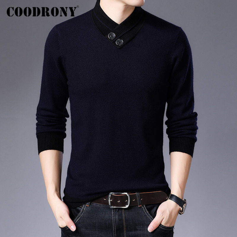 COODRONY Brand Sweater Men Autumn Winter Thick Warm Cashmere Wool Pullover Men Button Turtleneck Pull Homme Knitwear Tops 91113