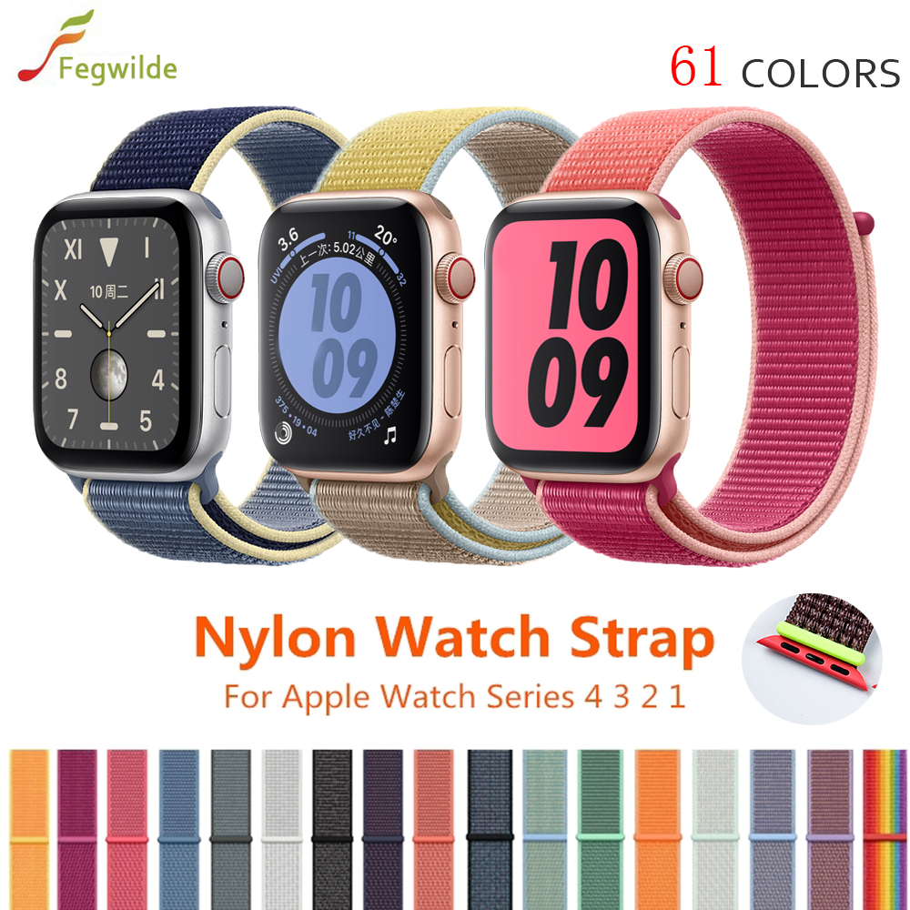 Strap For Apple Watch Band 44mm 40mm Iwatch Series 5 4 3 Band 42mm 38mm Woven Nylon Loop Band Belt Apple Watch Band Accessories