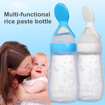 Baby Squeezing Feeding Bottle Silicone Baby Spoon Bottle Newborn Feeder Food Supplement Rice Cereal Bottle Safe Tableware Tools 2020 food supplement bottle vegetable fruit feeding spoon rice cereal bottle baby dishes infant baby squeezing feeding bottle