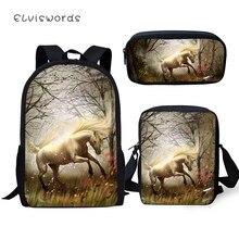 ELVISWORDS Childrens Backpack Cartoon Unicorn Horse Pattern Kids School Bags 3PCs Set Students Backpack/Flaps Bag/Pen
