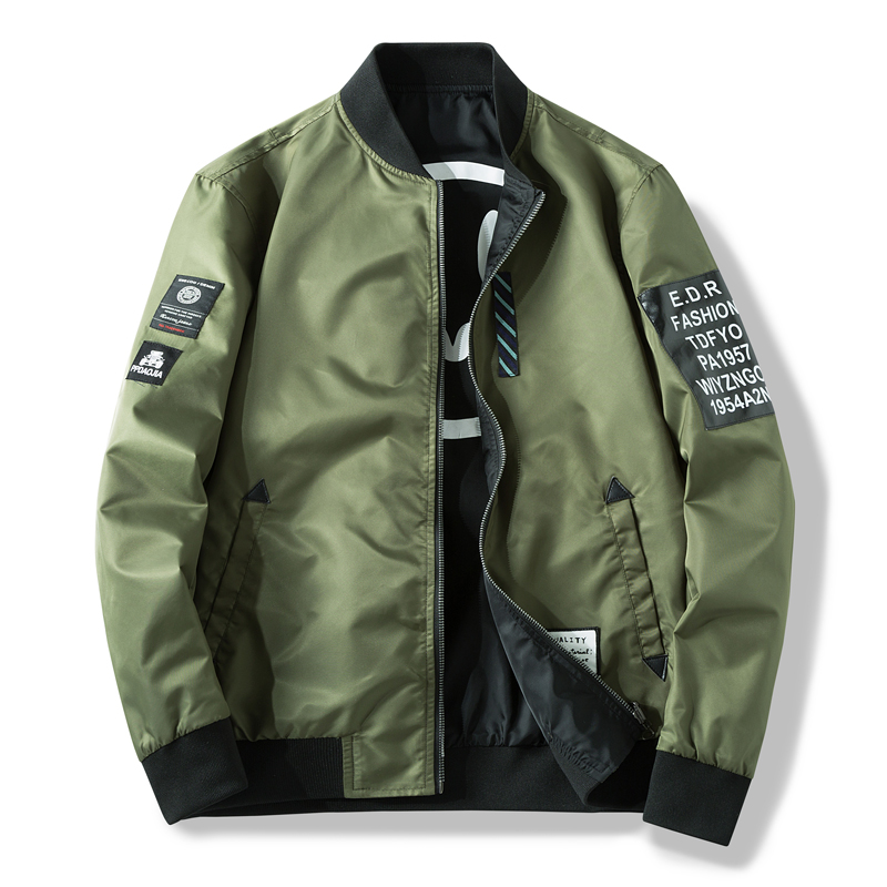 Men Bomber Jacket Slim Male Wear Casual Windbreaker Man Pilot Jacket With Patches Green Thin Mens Coat Outwear Clothing