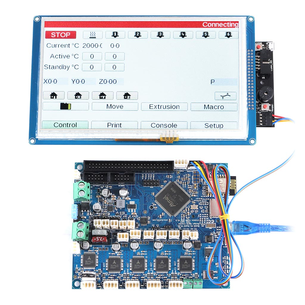 "Duet 2 WiFi V1.04 Upgrades Controller Board 32 Bit w// 7.0/"" LCD Touch Screen"