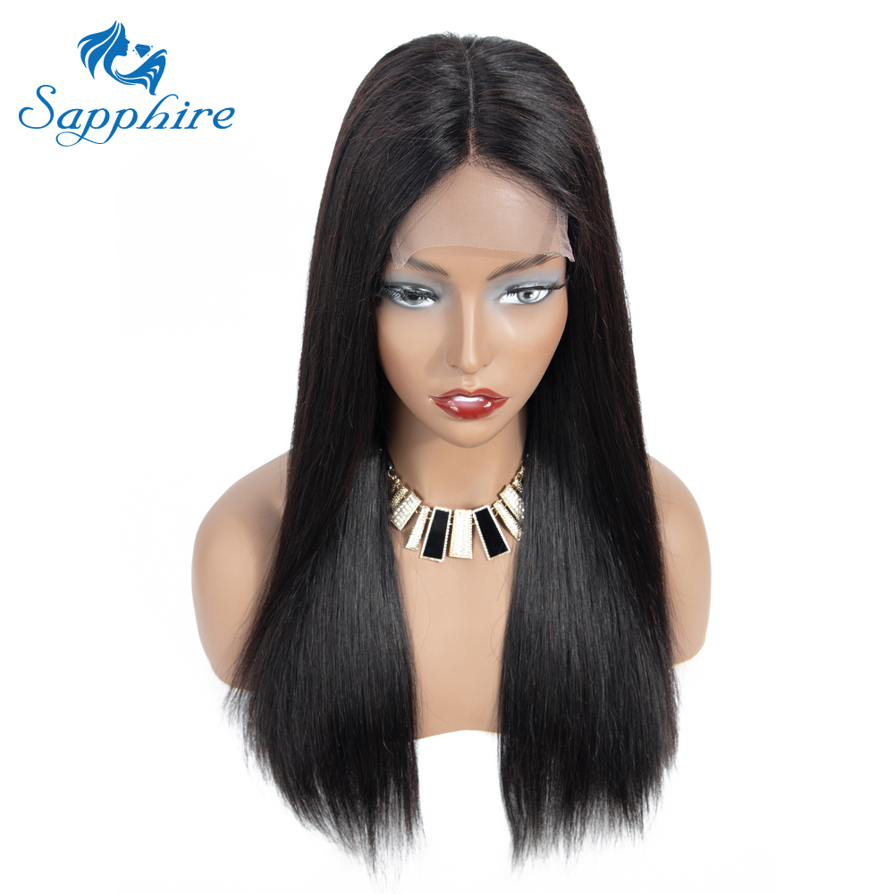 Sapphire Straight Hair 4*4 Lace Wig 4*4 Lace Closure Wig Malaysian Non Remy Hair  Density Straight Brazilian Human Hair Wigs