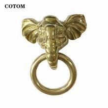 1 шт латунный маленький дверной молоток с изображением слона