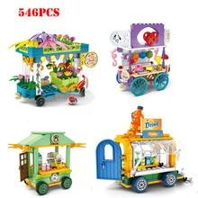 цена Street View Ice Cream Truck Food Store Creator Building Blocks Toys Compatible Legoed City Girls Friends Bricks Children Toys
