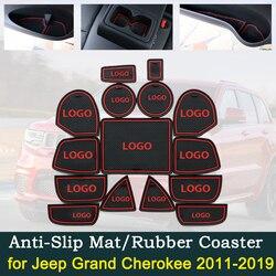 Anti-Slip Deur Rubber Cup Kussen Voor Jeep Grand Cherokee WK2 2011 ~ 2019 2013 2015 2017 Rode Groef matten Auto Interieur Accessoires