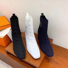 Сапоги на высоком каблуке; женские эластичные сапоги; вязаная обувь; женские ботильоны; сезон осень; Новинка; Высококачественная Роскошная Брендовая обувь; Размеры 35-40