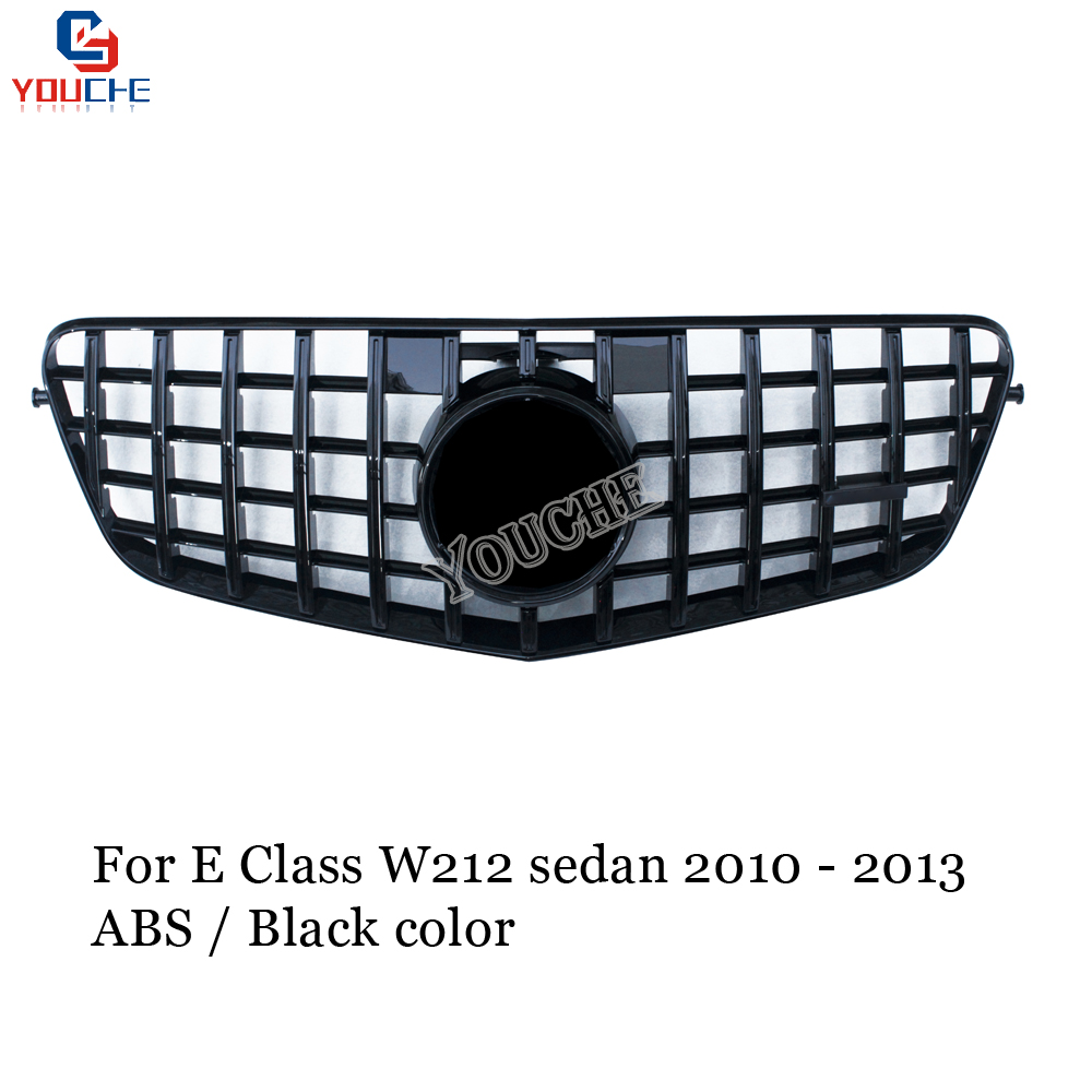 <font><b>W212</b></font> GT Grille Replacement Front <font><b>Grill</b></font> for <font><b>Mercedes</b></font> E Class <font><b>W212</b></font> 4-door Sedan 2010 - 2013 Black Grille image