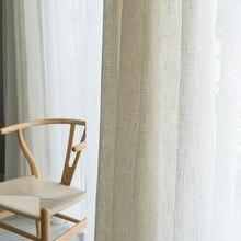 Cortina de linho estilo japonês, cortina grossa de gaze, cortina contratada, para quarto, janela, varanda, sombreamento, tela de janela