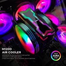 ALSEYE M120D CPU Cooler Adjustable RGB Lighting 120mm PWM 4 Pin Support 5V-3pin Aura/RGB FUSION Heat-Pipe Cooler Support LGA1200