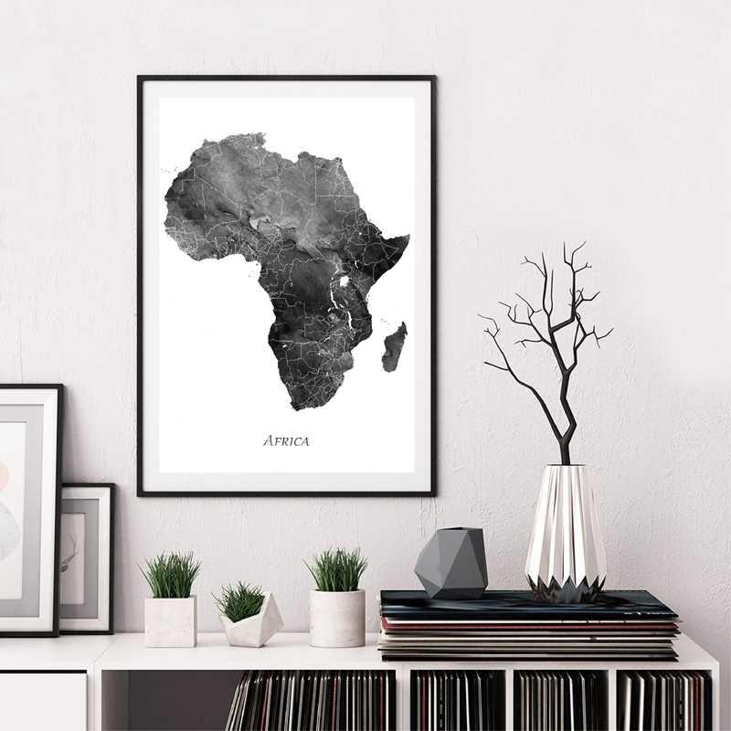 Cartina Dell Africa In Bianco E Nero.Decorazioni Per La Casa Pittura Su Tela Africa Mappa Poster Stampe Mappa Dell Acquerello Viaggi Grigio Nero Bianco Immagini Per Pareti Per Soggiorno Pittura E Calligrafia Aliexpress