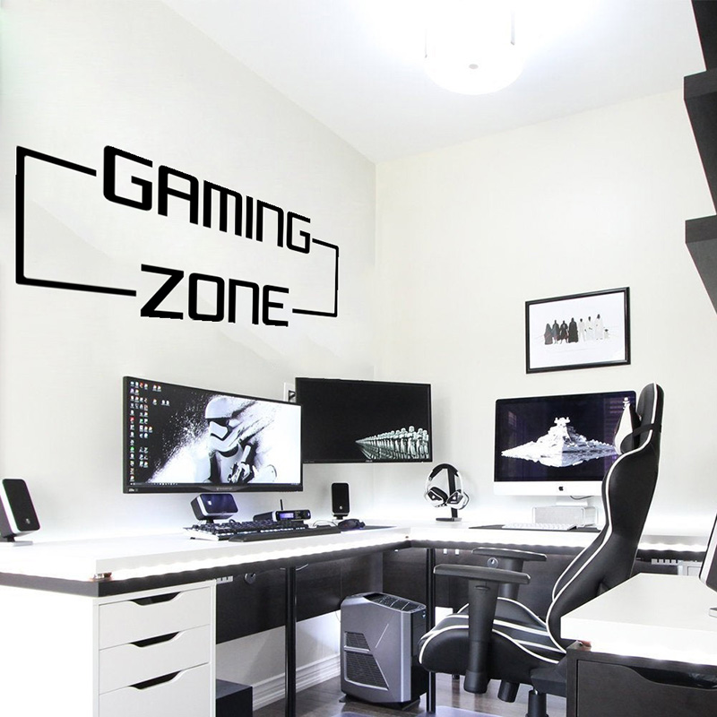 Large Gaming Zone Gamer Wall Sticker Playroom Kids Room Video Game Quote Wall Decal Bedroom Vinyl Home Decor