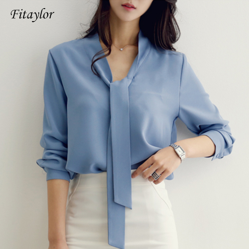 Fitaylor 2020 Woman Casual Blue Chiffon Blouse Solid Office Long Sleeve Blouse Shirt Tops Women Blusa Female Shirt