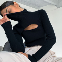 2021 spring slim fit high collar Pullover long sleeve solid color hollow knitting foreign style commuter women's wear
